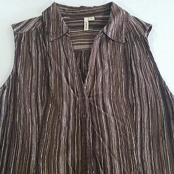 St. John's Bay Tops - Brown sleeveless v-neck button up Blouse